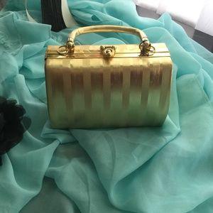 Vintage Gold tone purse w/long strap cross body